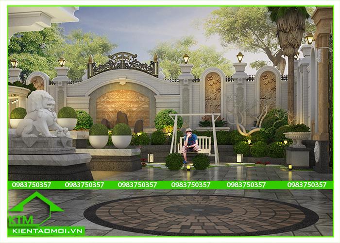 Mẫu thiết kế sân vườn đẹp với hàng rào, xích đu, tiểu cảnh tại KTM Bảo Lộc, Đà Lạt.
