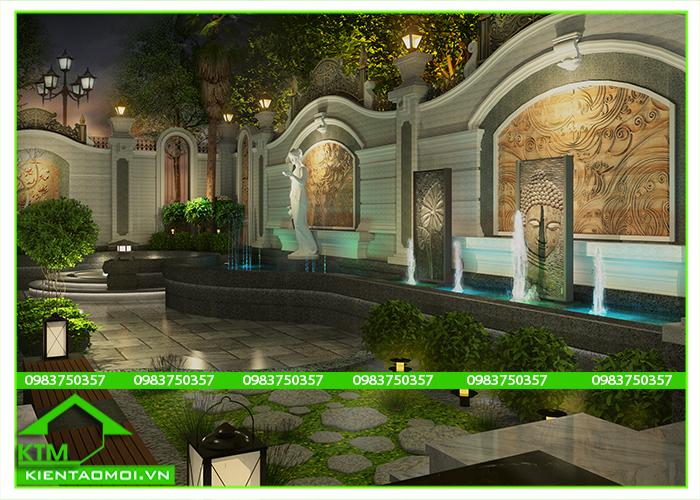 Cảnh quan sân vườn có đài phun nước KTM Bảo Lộc